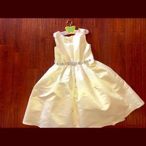 US ANGELS ivory satin dress rhinestone sequin belt